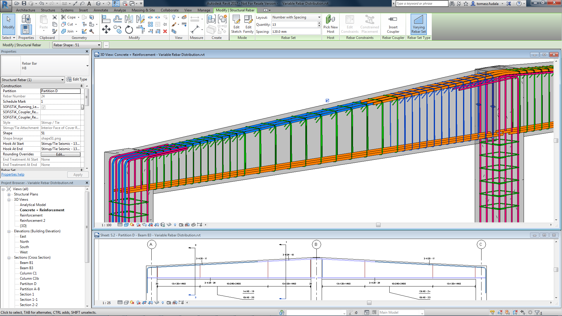 Variable Rebar Distribution In Revit 2017 Bim And Beam