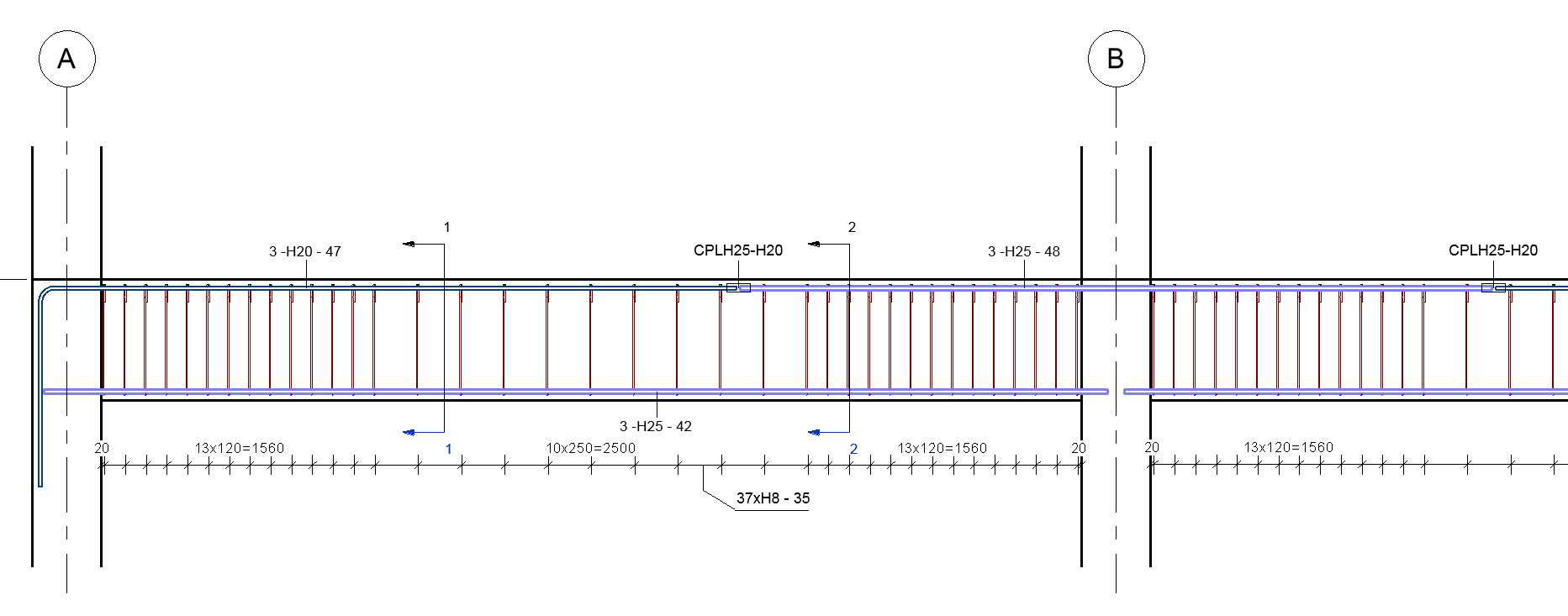 You can use these multi-rebar annotations to tag each bar in a rebar set  with a detailed annotation for fabrication and construction.