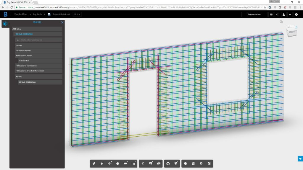Autodesk Structural Precast Extension for Revit, view in BIM 360 Team.