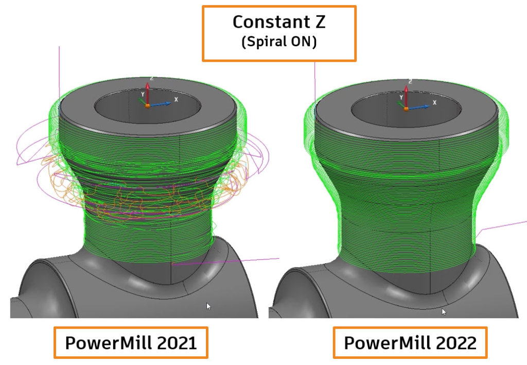 Image compares the quality of a Constant Z finishing toolpath produced in PowerMill 2021 and 2022,