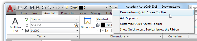 Basic AutoCAD Customization Quick Access Toolbar: Removing the Spelling Check tool from the QAT