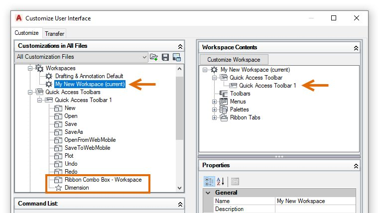 Customize AutoCAD LT workspace and Quick Access Toolbar