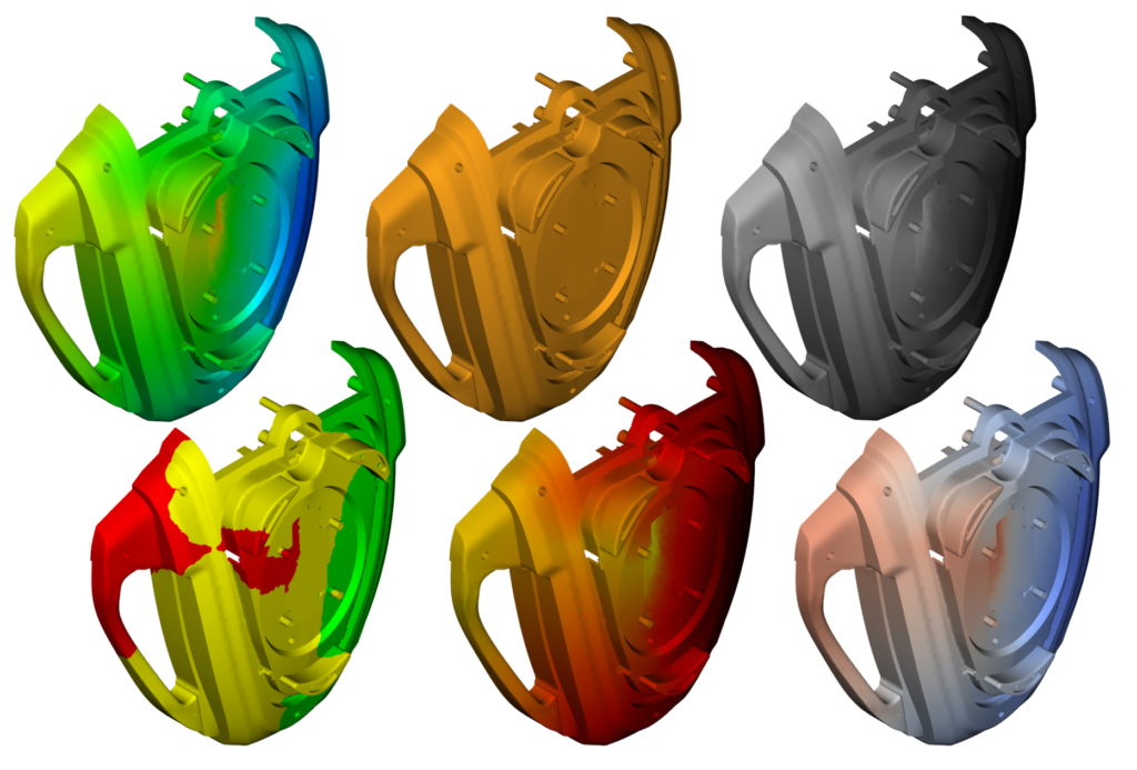 Image from Autodesk Moldflow 2021 showing various legend display options on plastic part simulation.