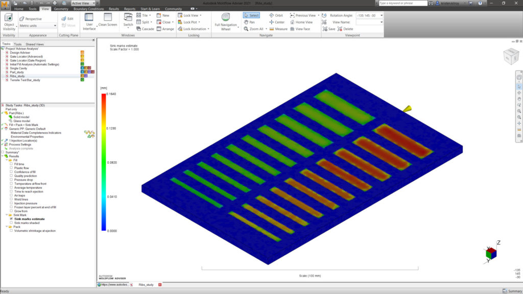 Image of Autodesk Moldflow Insight 3D sink mark result.